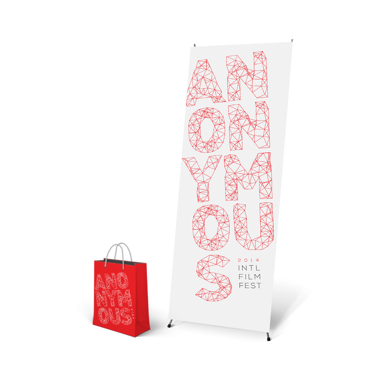 Photo of giveaway bag and floor banner.