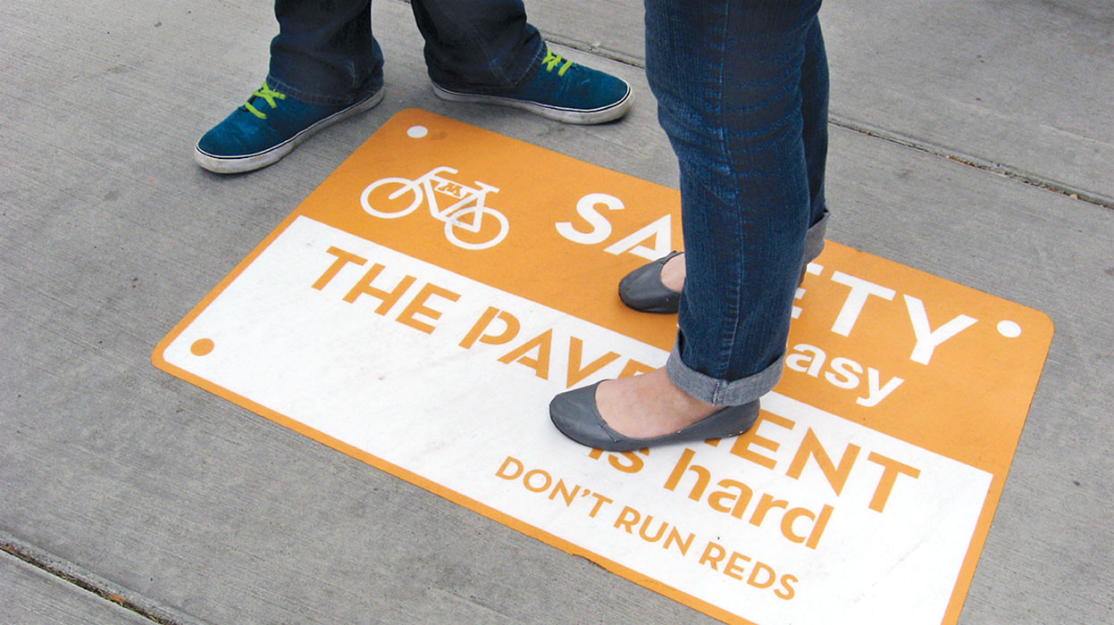 safety campaign, sidewalk cling