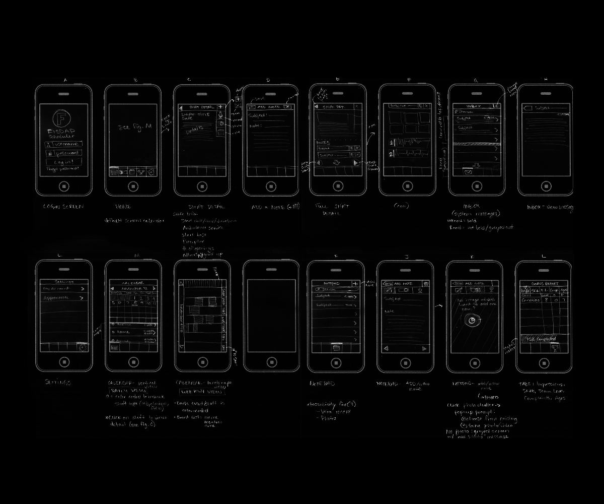 photo of app sketches laid out on dark background