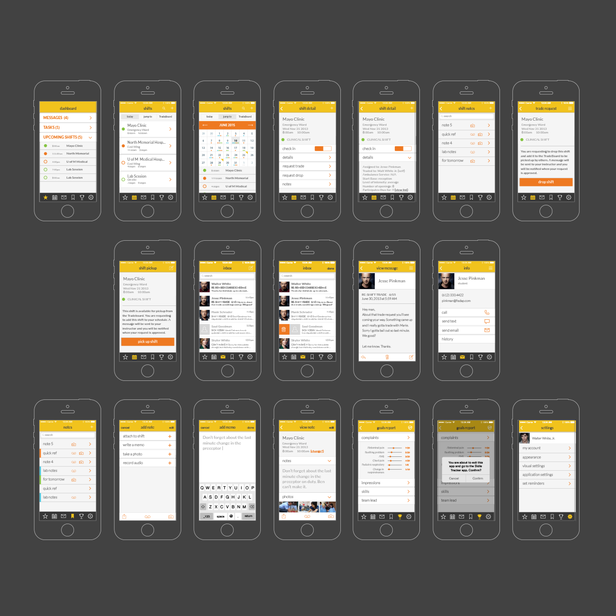 photo of app wireframes laid out on dark background