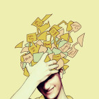 Abstract illustration of a young man holding his forehead as written memos float from atop his head.