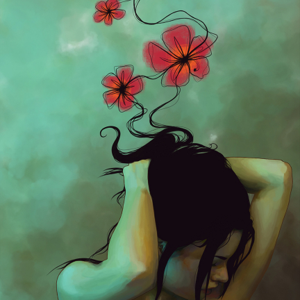 Illustration of a young woman with arms folded above her head, her hair flowing upward and morphing into flowers.