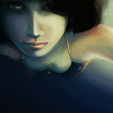 A young woman floating underwater, half under darkness, half light by sunlight.