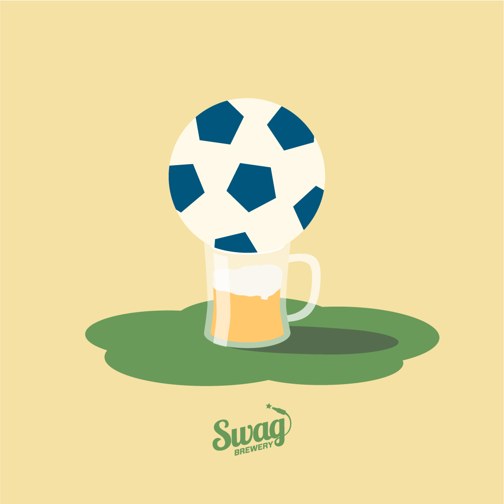 Illustration of a soccer ball sitting in a beer mug.