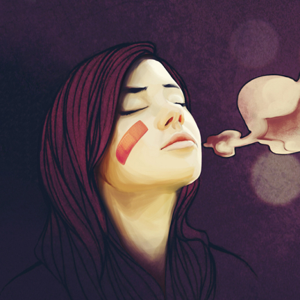 Illustration of a young woman with a band-aid on her face breathing a sigh of relief.